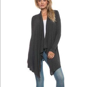 belleamejanice Sweaters - Solid Rayon Jersey Long Sleeve Cascade Cardigan